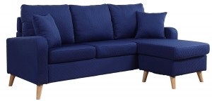 .Mid Century Modern Linen Fabric Small Space Sectional Sofa with Reversible Chaise