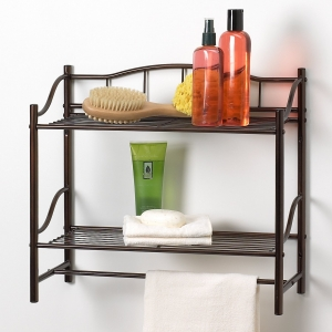 Creative Bath Products Complete Collection 2 Shelf Wall Organizer with Towel Bar, Oil Rubbed Bronze