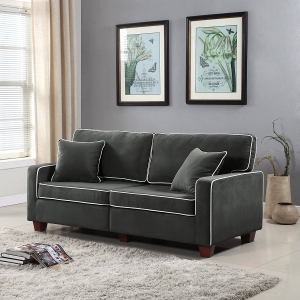Divano Roma Furniture Collection - Modern Two Tone Velvet Fabric Living Room Love Seat Sofa