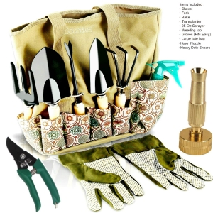 Garden Tools Set - 8 Piece Gardening tools With Storage Organizer, Ergonomic Hand Digging Weeder, Rake, Shovel, Trowel, Sprayer, Gloves Gift for Ma