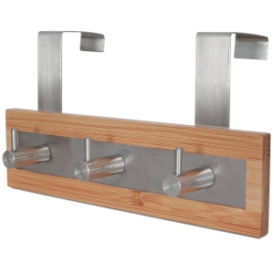 ToiletTree Products Bamboo Wood & Stainless Steel Over the Door Towel Rack, 3 Hooks