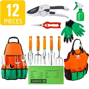 UKOKE Garden Tool Set, 12 Piece Aluminum Hand Tool Kit, Garden Canvas Apron with Storage Pocket, Outdoor Tool, Heavy Duty Gardening Work Set with Ergonomic...