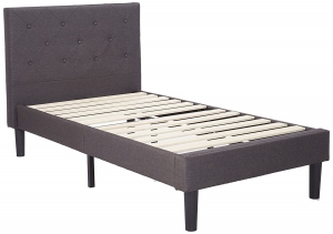 Zinus Upholstered Diamond Stitched Platform Bed with Wooden Slat Support, Twin