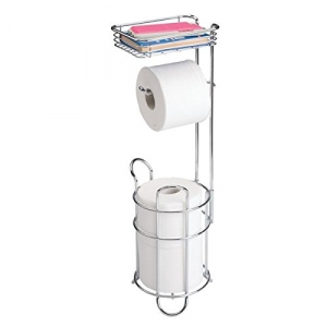 mDesign Toilet Paper Dispenser and Reserve with Storage Shelf for Bathroom Storage – Chrome