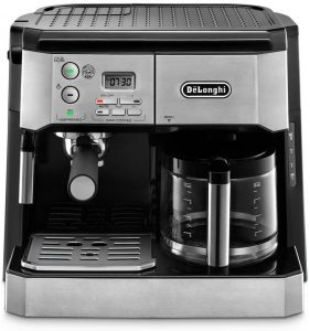 """DeLonghi BCO430 Combination Pump Espresso and 10-Cup Drip Coffee Machine with Frothing Wand, Silver and Black """""""