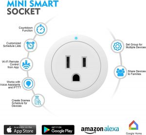 Smart Plug - Esicoo Smart Plug Certified Compatible with Alexa, Echo & Google Home –Only Cloud Intelligence App- Only WiFi 2.4G